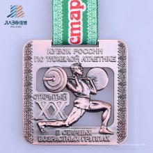 Medalha de bronze feita sob encomenda do halterofilismo do metal da liga nova do projeto para esportes