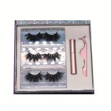 F166BH Hitomi 3d Mink Eyelashes 3 Pair Oem Mink Eyelashes Fluffy 25mm Magnetic Eyelashes with Eyeliner and tweezers