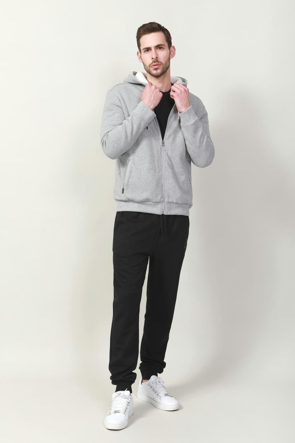 black brushed fleece track pants