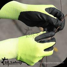 SRSAFETY 13 калибровочные трикотажные нейлоновые и спандекс покрытые черные высокотехнологичные пенные нитриловые перчатки