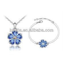 Atacado moda jóias de ouro branco colar e pulseira jóias safira conjunto