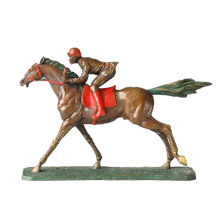 Sports Bronze Sculpture Hrose Race Carving Decor Brass Statue TPE-024