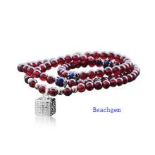 Natural Garnet Beads Bracelet with Silver Charm (BRG0021)