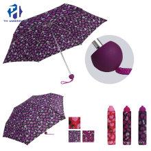 3 Fold Printing Manual Open Rain Umbrella with 6 Ribs/ Cute Mini Gift Umbrelal for Girls and Lady