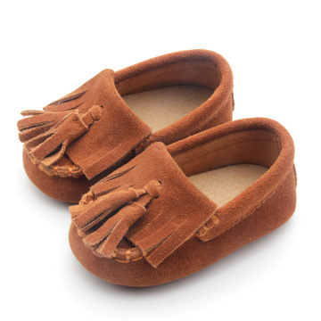 Tassel Brown Rubber Sole Mocasines para bebés 2018