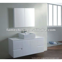 white bathroom vanity with mirror cabinet