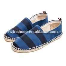 Мягкая плоская повседневная обувь широкая полосатая мужская обувь espadrille