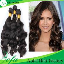 Unverarbeitetes brasilianisches welliges Remy-Jungfrau-Haar für Schönheit