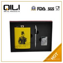 FDA 8oz stainless steel whisky hip flask set for men