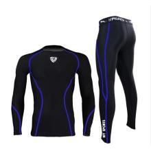 Solid Balck Compressão manga comprida camisa calças Suit