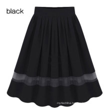 Europe fall black chiffon elastic waist long skirt plus size dress women skirts