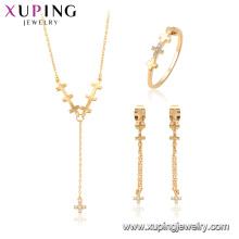 64697 xuping alliage de cuivre mode croix collier bijoux ensemble cadeau pour les femmes