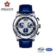Stainless Steel Case Blue Genuine Leather Strap Man Quartz Watch