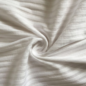 Mercerized stripe effect double rib knitting fabric