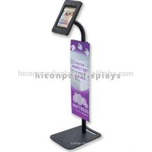 Iron Custom Design Pop Anti-Diebstahl verstellbare Android Tablet Kiosk Pos Boden Display Stand mit Schloss