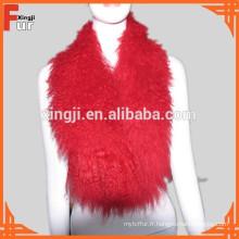 Collier de fourrure de col d'agneau rouge tibétain teint