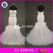 ED Bridal Sexy Sweetheart Mermaid Lace Appliqued Vestidos de noiva 2017 com faixa frisada