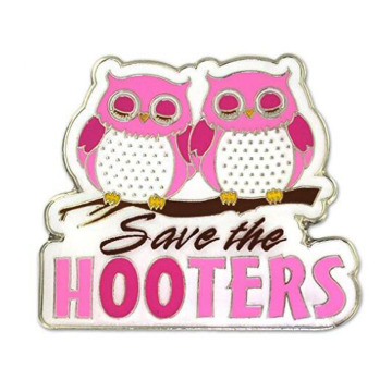 Breast Cancer Save the Owl Enamel Lapel Pin