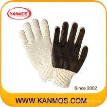 Algodón PVC sin costuras Palm Industrial Safety Work Glove (61008)