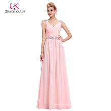 Grace Karin Cheap Sleeveless V-Neck Chiffon Pink Long Prom Dress GK000065-1