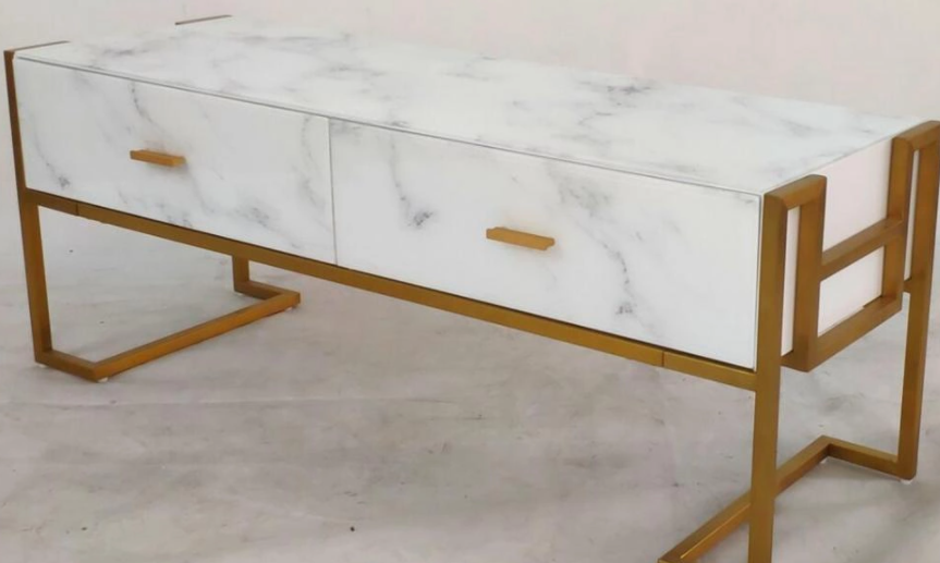 Glass TV cabinet with marble pattern