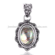 Красивый Ушка Оболочки Драгоценных Камней 925 Серебряный Кулон Ювелирных Изделий