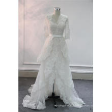 Newest Lace Front Slit Evening Bridal Wedding Gowns