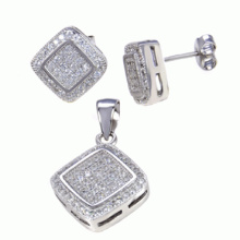 Fashion Fine Jewelry 925 Sterling Silver Jewelry Set Micro Setting