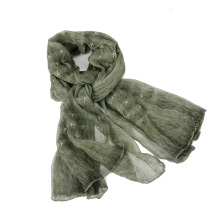 Fashionable Embroidered big Size Ladies 100% crincle Silk Scarves