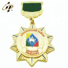 Custom zinc alloy gold metal military souvenir medallion with upper plate