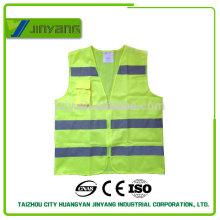 chaleco de seguridad fluorescente amarillo reflectante bolsillo con cremallera