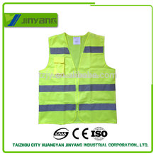 flourescent yellow reflective pocket safety vest with zipper