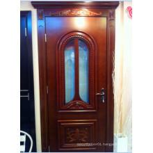 Solid Wooden Door with Glass Design