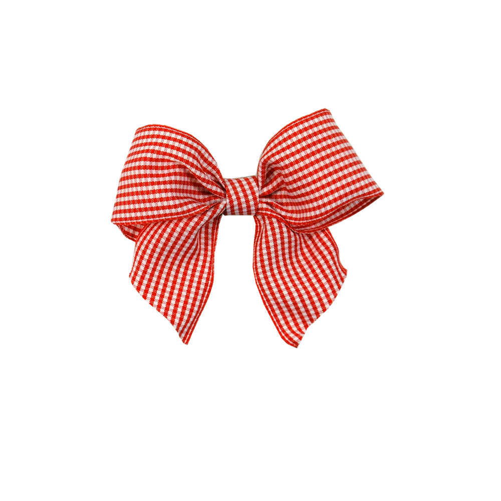 orange grid ribbon bow for hair accessory