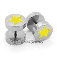 Boucles d'oreilles fausses magnétiques en acier chirurgical Star jaune 10mm