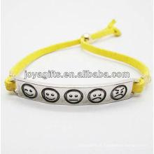 2013 moda yelolw couro pulseira com liga de prata esculpida phiz símbolo