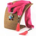Moda brilhante Mulheres Tassel Lenço De Metal Pingente De Cachecol
