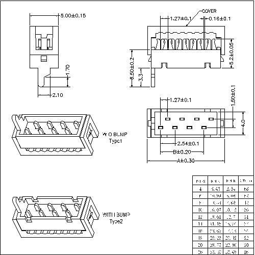 MFCS03 -XXAXX 1.27mm Micro Match Box Header IDC