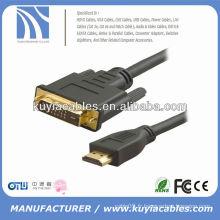 Plaqué or à haute vitesse 1,8 m 6FT noir DVI à HDMI Câble mâle à mâle