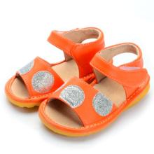 Orange Baby Sandalen mit Splitter Große Tupfen