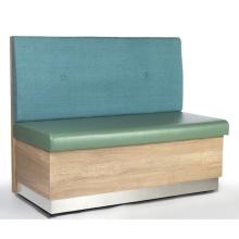 Sofá de tecido de couro moderno para restaurante Cabines com moldura de madeira