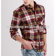 Men's slim fit long sleeve flannel Plaid shirt