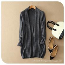 Ladies 'Knitwear Pure Cachemire Tricot Long Cardigan Manteau