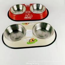 12 pulgadas antideslizante de acero inoxidable doble tazón alimentador de perro