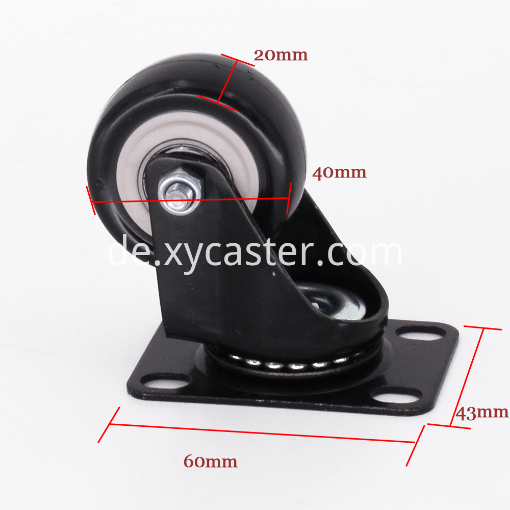 1 5 Inch Black Swivel Black Pvc Caster