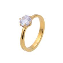 Custom Gold Plated Jewelry Ring CZ Zircon Stone Crystal Paved Engagement Diamond Wedding Ring