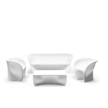 White Outdoor Polyethylene Armchair Lounge Biophilia Sofa