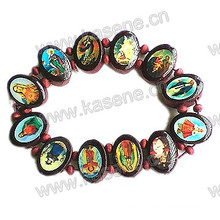 Ellipse Coffee Wooden Rosary Bracelet with Saint Image