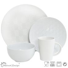 16PCS Lozenge Shape Debossed Ceramic Dinner Set