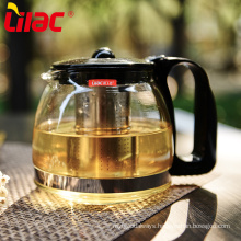 Lilac transparent glass tea pot with stainless infuser